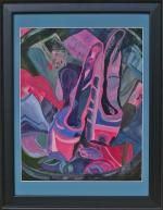 Mixed media on canvas - ballet shoes, a mix of words and dance