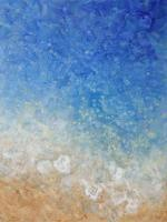 Contemporary abstract painting in the colors of water, sand, surf