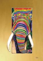 Elephant squeezing through a small space.  Brightly colored.