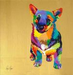 Corgi dog, brightly colored