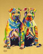 Sharpei Pups. Brightly colored