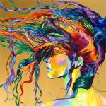 Lady with hair blowing in a gust of wind. Brightly colored.